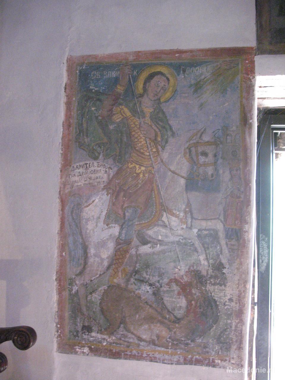 Wandschildering van held op paard